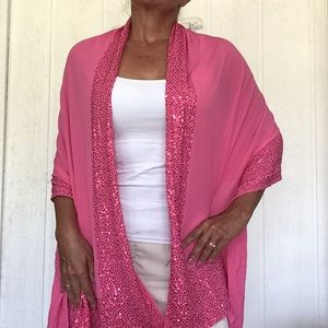 PINK SEQUIN EDGED OVERSIZED WRAP SCARF